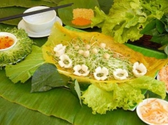 Banh xeo, the Vietnamese pancake, is a dish that is said to satisfy all five sense